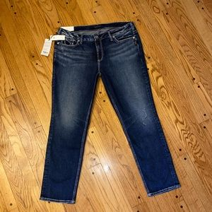 NWT SILVER JEANS ELYSE MID RISE CURVY STRAIGHT 16